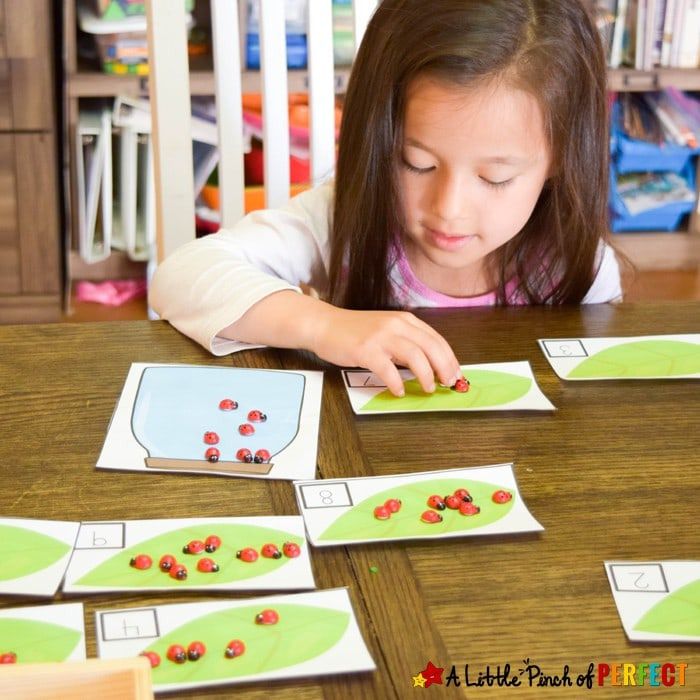 Catch a Bug Math Activity and Free Printable: The printable includes numbers 1-20, several different bug jars, a 10-frames chart, and was designed so you can adapt it to suit your child's needs. (Spring, counting, addition, preschool, kindergarten)