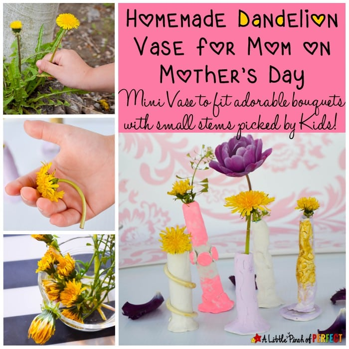Homemade Dandelion Vase for Mom on Mother's Day: All moms and grandmas need a dandelion vase (mini vase) to keep all those adorable bouquets with small stems picked by kids (mother's day, valentine's day, clay, flowers, kids craft)