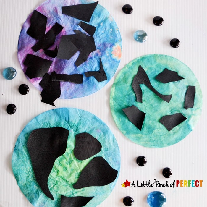 Earth Day Coffee Filter Suncatcher Craft for Kids: An easy craft to make while learning about the Earth, Planets, Solar system, and celebrating Earth Day.