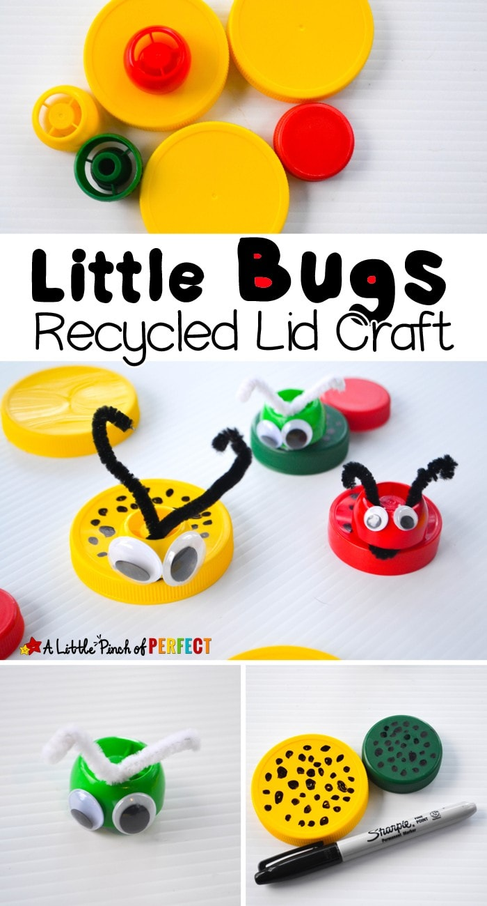 Little Bugs Recycled Lid Craft for Kids: Turn milk caps and extra lids into cute little bugs (spring, insects, kids craft)