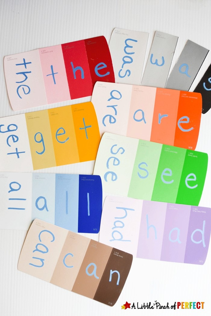 Sight Word Paint Sample Puzzles for Kids: An easy DIY to make learning to read and spell fun! The different shades offer a visual clue for kids to build the words correctly while giving them independence to complete the activity on their own.