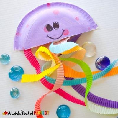 Jiggling Jellyfish Cupcake Liner Craft for Kids