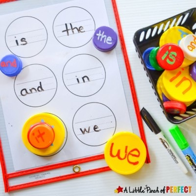 Learn & Stack Sight Word Activity with Lids