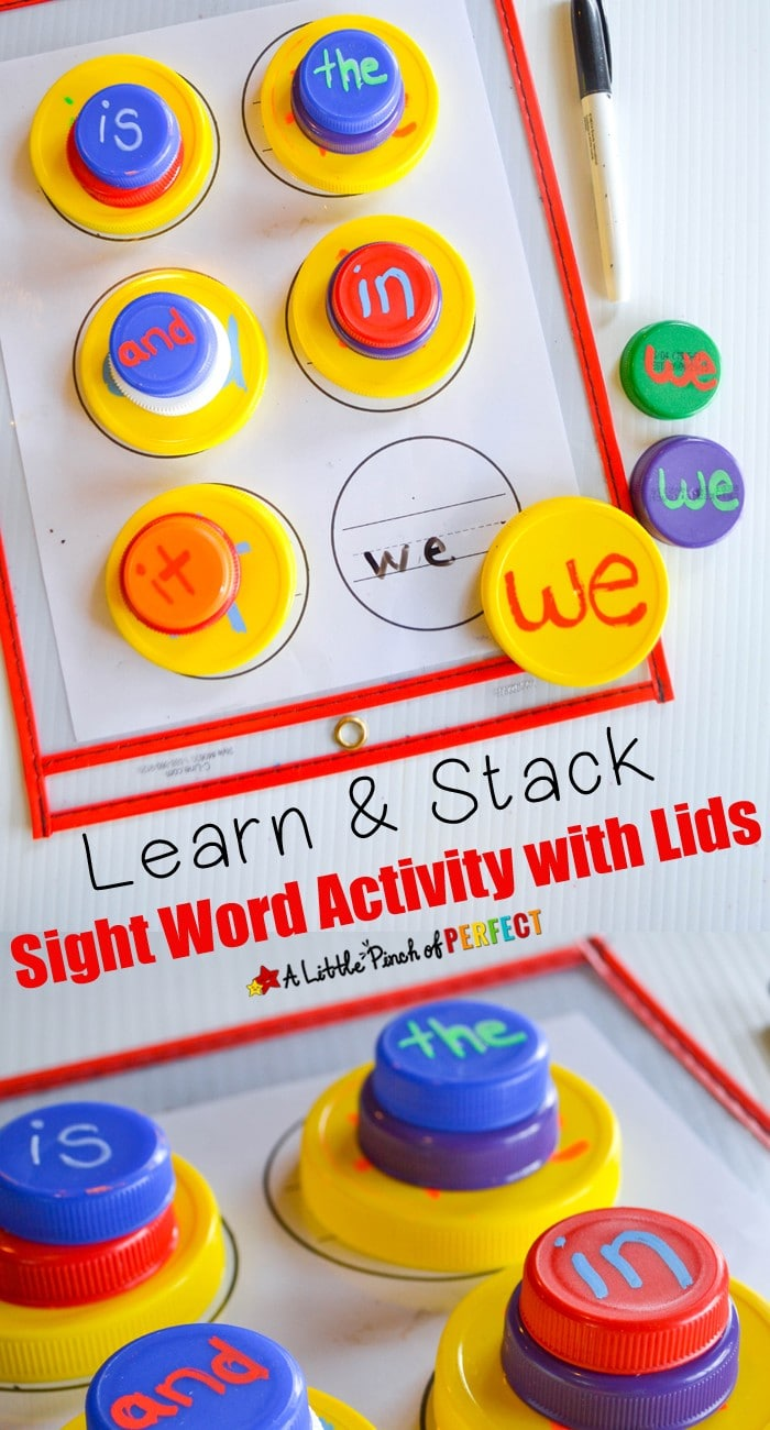 Learn & Stack Sight Word Activity with Lids: Make a fun and simple sight word activity using recycled lids for kids to learn to read. You can use this same activity for letters or numbers too. (preschool, kindergarten, language arts)
