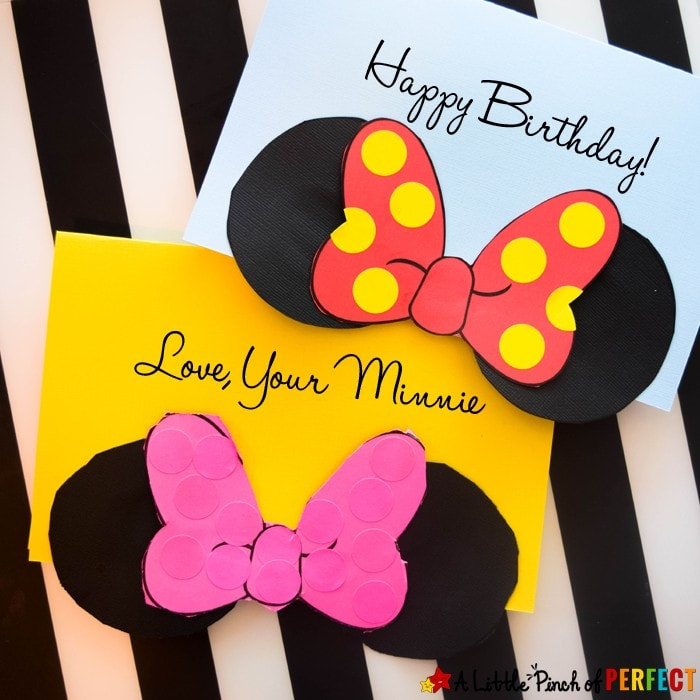 Adorable Free Mini Mouse Card Template to make for birthdays, holidays, thank you cards, or anytime you feel like celebrating. (Disney, homemade, craft, kids)