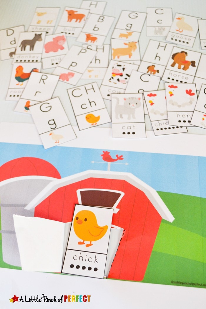 Peek a Boo Farm Animal Activity and Free Printable: Kids can learn Letters, Phonics and Reading by guessing and seeing who or what letter is in the barn (spring, language arts, preschool, kindergarten)