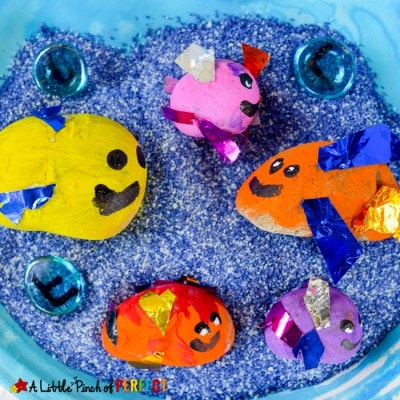 Painted Rock Fish Craft and Play Idea for Kids