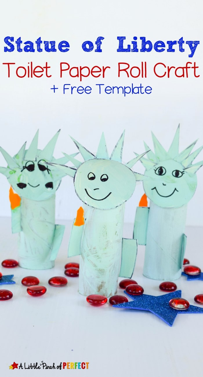 Statue of Liberty Toilet Paper Roll Craft and Free Template: Kids can make a cardboard tube Lady Liberty to celebrate The 4th of July and learn about American History (Independence Day, free printable, kids craft)