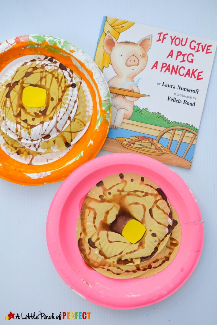 Pancake Paper Plate Craft Inspired by If You Give a Pig a Pancake: This pancake craft is going to make you hungry because it's topped with a pat of butter and dripping in pretend syrup. (Laura Numeroff, Preschool, Kindergarten, Kids Craft, Book Extension)