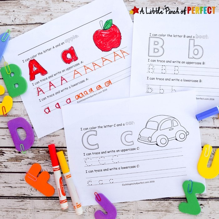 Learning to Write the Alphabet: A-Z Free Printables-Kids can review letters and phonics with this free printable alphabet set that includes uppercase and lowercase letters, prewriting lines, and a matching picture to color (Kindergarten, First grade, Language arts, ABCs, Letters).