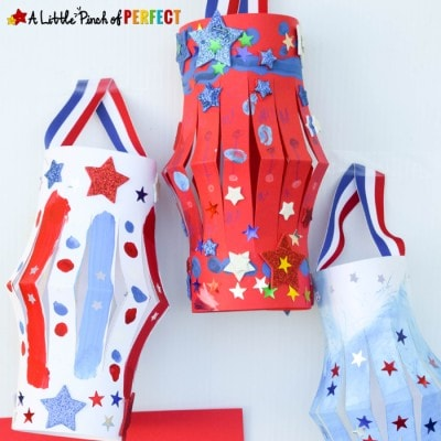 Patriotic Lantern Craft to Make on Labor Day with Kids and Free Template