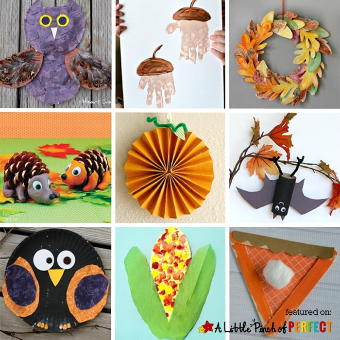 10 Fantastic Fall Crafts for Kids: Including nature crafts, handprint crafts, apples, owls, leaves and more.