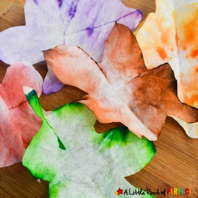 Autumn Leaves STEAM Absorption Art and Free Template
