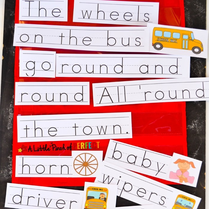 The Wheels on the Bus Sentence Strips: print them out, cut them apart, and you