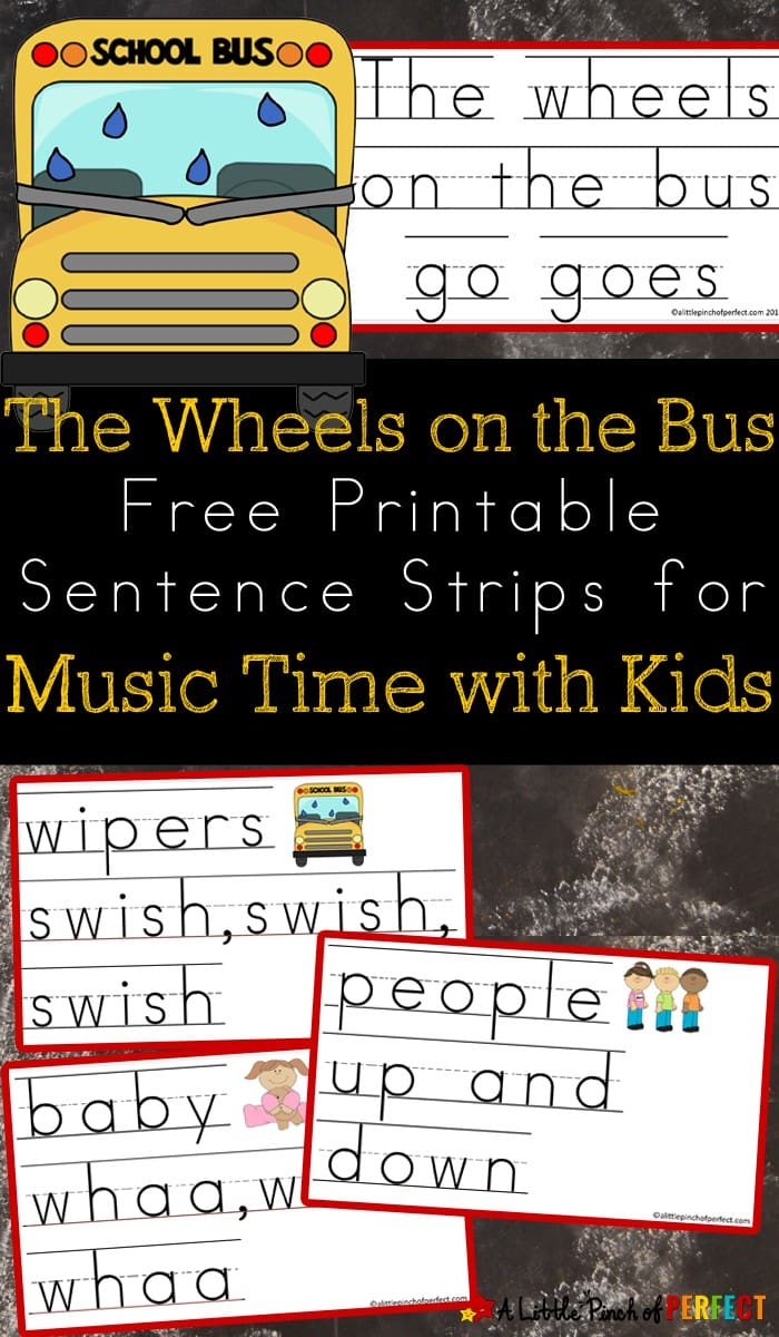 The Wheels on the Bus Sentence Strips: print them out, cut them apart, and you're ready to sing in your classroom, daycare, or homeschool. (back to school, preschool, kindergarten, music)