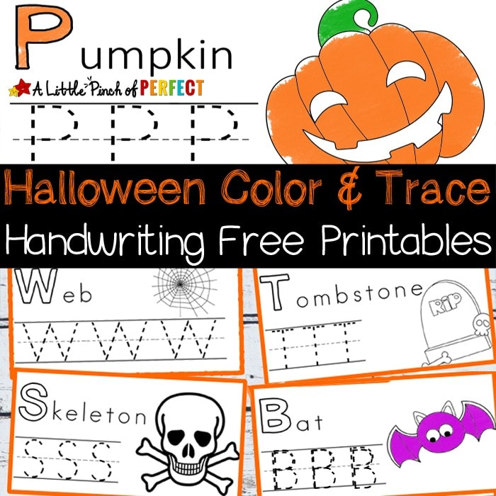 Halloween Handwriting and Coloring Free Printables: Perfect for letter writing practice including favorite Halloween pictures like pumpkins, spiders, ghosts, monsters, and more. (preschool, kindergarten, October)