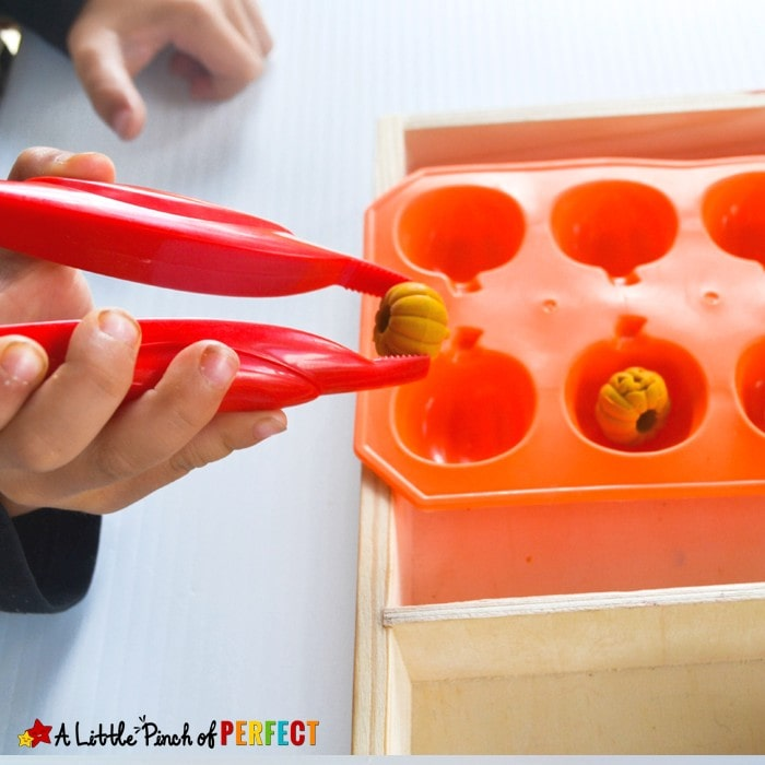 Halloween Pumpkins Fine Motor Skills Math Tray: This activity is easy to set up and can be played two different ways for kids to work on number recognition, counting, subitizing, and fine motor skills (preschool, tot school, October, Kids activity)