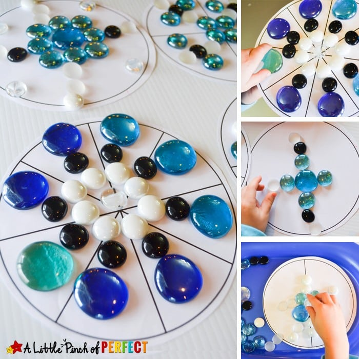 Build a Snowflake Symmetry Circle Math Activity and Free Printable: Kids can play with loose parts as they learn about symmetry with this easy hands on learning activity. (STEAM Activity, Winter, December, January)