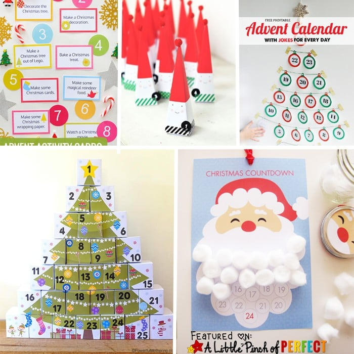13 Free Printable Christmas Advent Calendars for Kids: Easy to make homemade advent calendars (December, DIY)