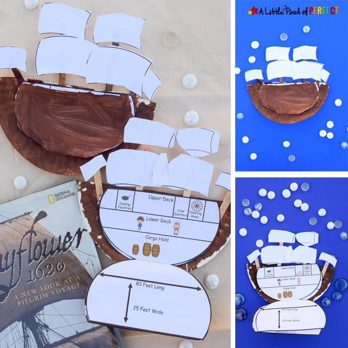 Inside the Mayflower Paper Plate Craft and Free Template: Kids can learn the history of the Mayflower as they make this easy craft for Thanksgiving. (preschool, kindergarten, first grade, November)