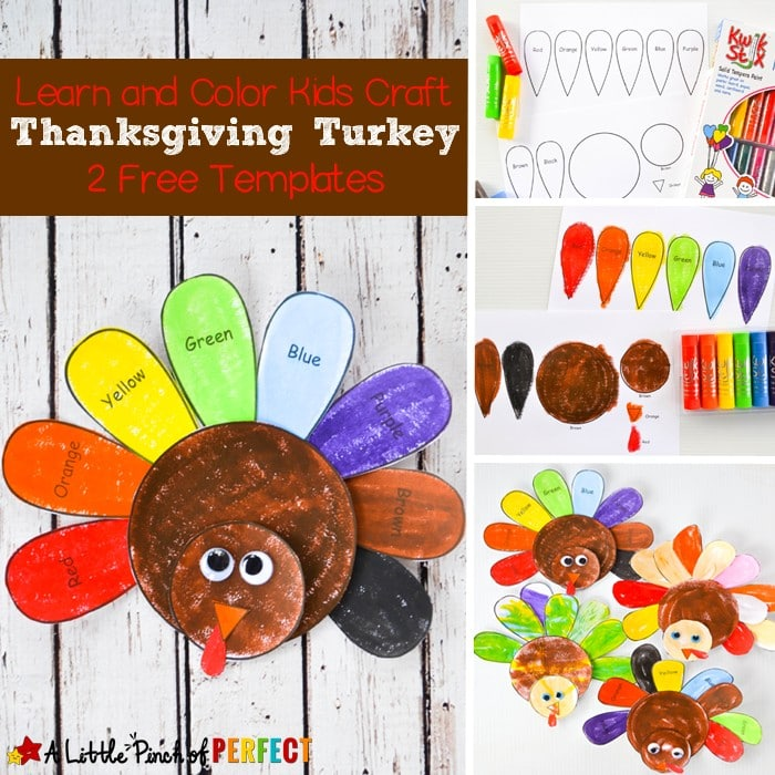 Learn and Color Thanksgiving Turkey Craft and Free Template for Kids: Free Printable comes in two versions so kids color turkey freely or follow the labels to learn colors. (November, Fall, Preschool, Kindergarten)