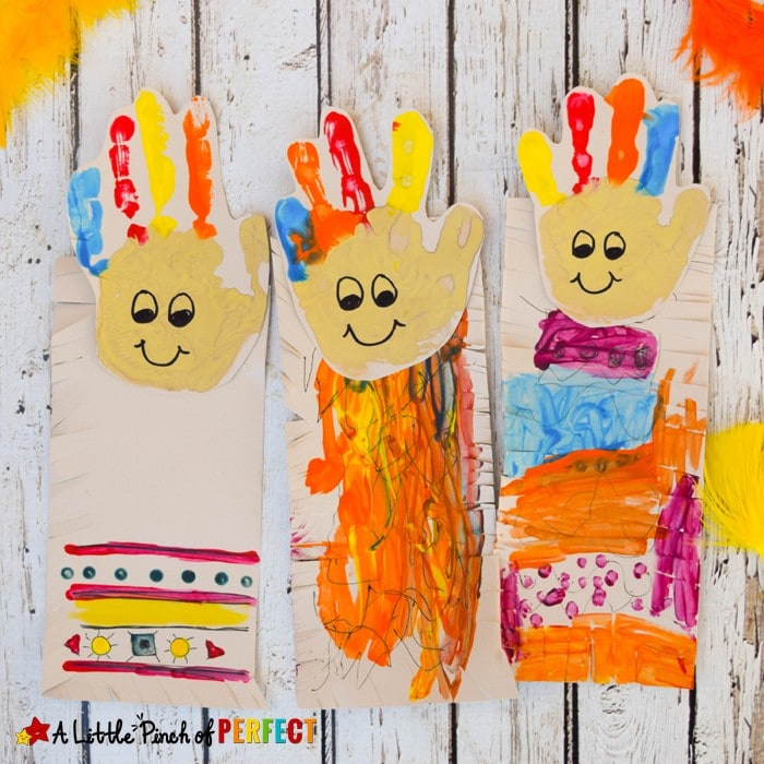 Native American Handprint Kids Craft: Adorable handprint craft that kids can decorate with traditional Native American symbols and practice scissor skills (November, Thanksgiving, Kids Activity, Preschool, Kindergarten, American History)