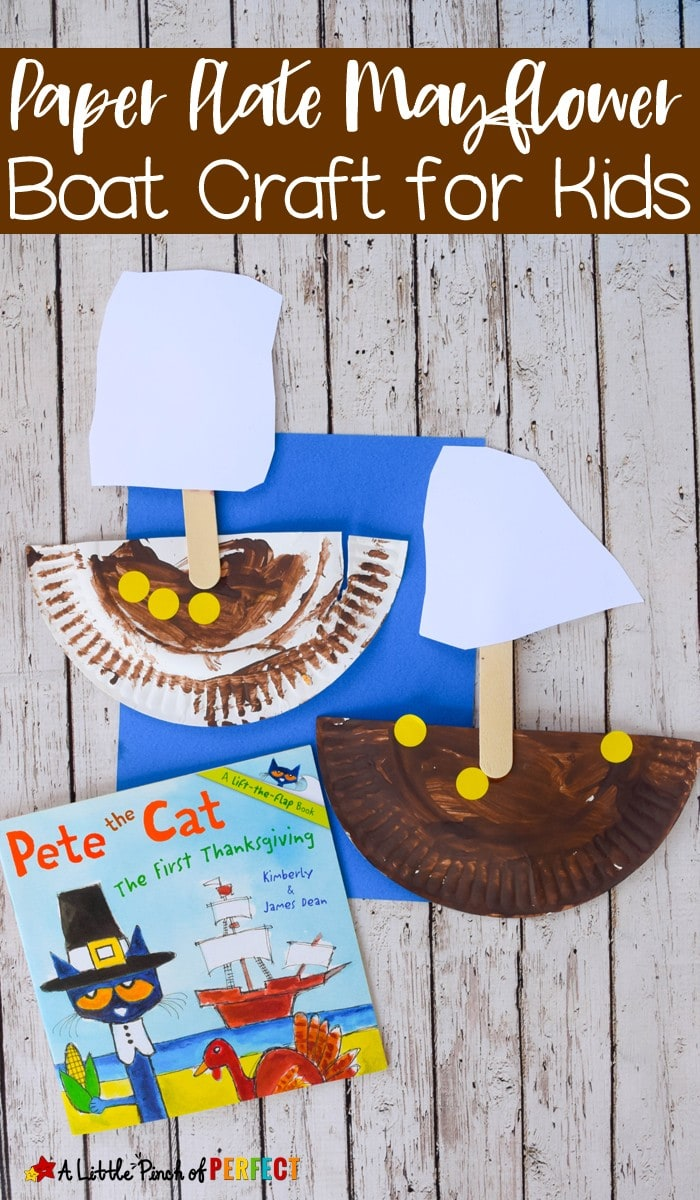 Paper Plate Mayflower Thanksgiving Craft with Pete the Cat: Easy for kids to make as they learn and read about Thanksgiving (November, History, Kids Craft, Preschool, Kindergarten)