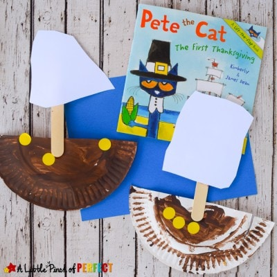 Paper Plate Mayflower Thanksgiving Craft with Pete the Cat