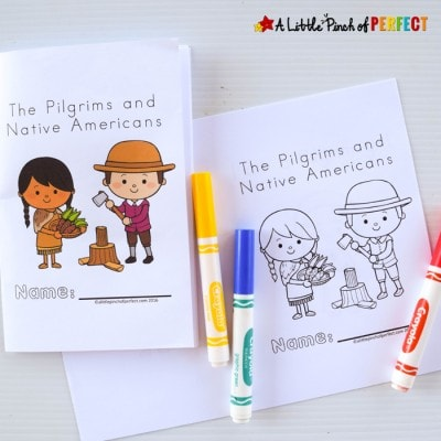 Thanksgiving Free Printable Easy Reader Book: Pilgrims and Native Americans