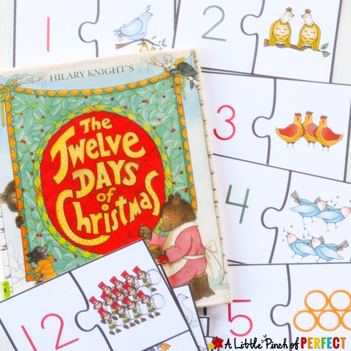 12 Days of Christmas Free Printable Number Puzzles: Kids can practice number recognition, counting, and subitizing while putting together two piece puzzles (preschool, kindergarten, December, book extension)