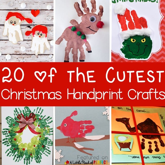 20 of the Cutest Christmas Handprint Crafts for Kids: The ideas include classic Christmas crafts like Santa, Rudolph, a Christmas tree, and The Grinch as well as nativity ideas, and winter animals. Each of these crafts can be turned into an adorable holiday decoration, gift tag, or homemade card