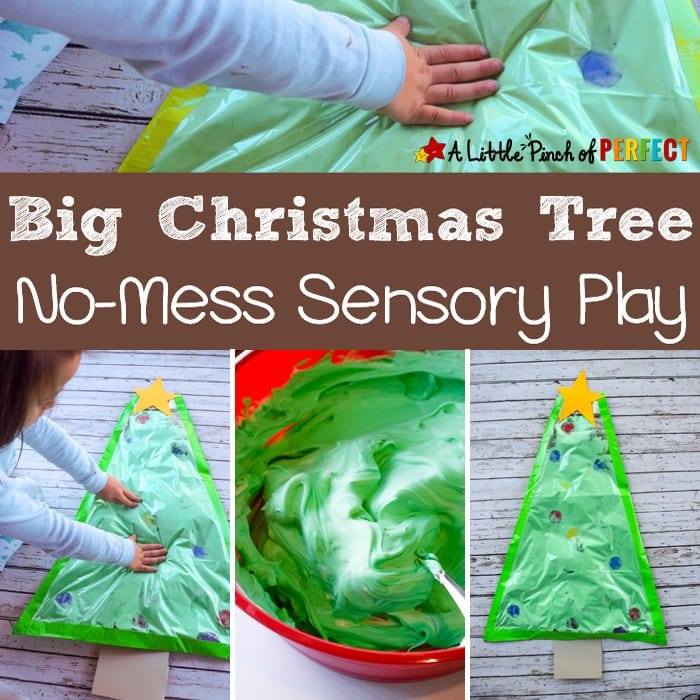 A Big Christmas Tree No-Mess Sensory Play Activity for Kids: Kids love putting their hands on the Christmas tree and this time you don't have to worry because ornaments wont break, a mess wont be made, and they can play as much as they want during this fun sensory activity (Preschool, Kindergarten, Toddler, December, Sensory Bag)