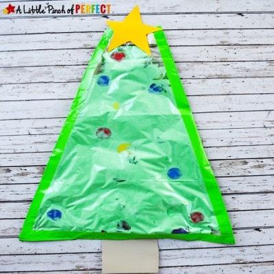 A Big Christmas Tree No-Mess Sensory Play Activity for Kids