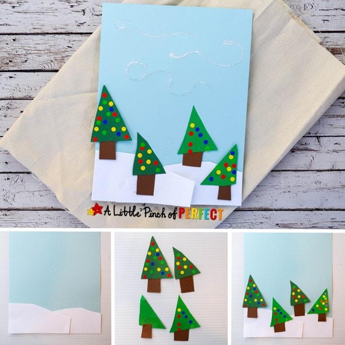 Easy Winter Scene Christmas Tree Shape Craft for Kids