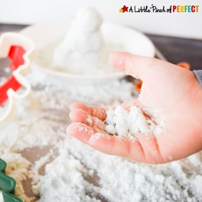 How to make Pretend Snow: Winter Themed Kinetic Sand for Kids