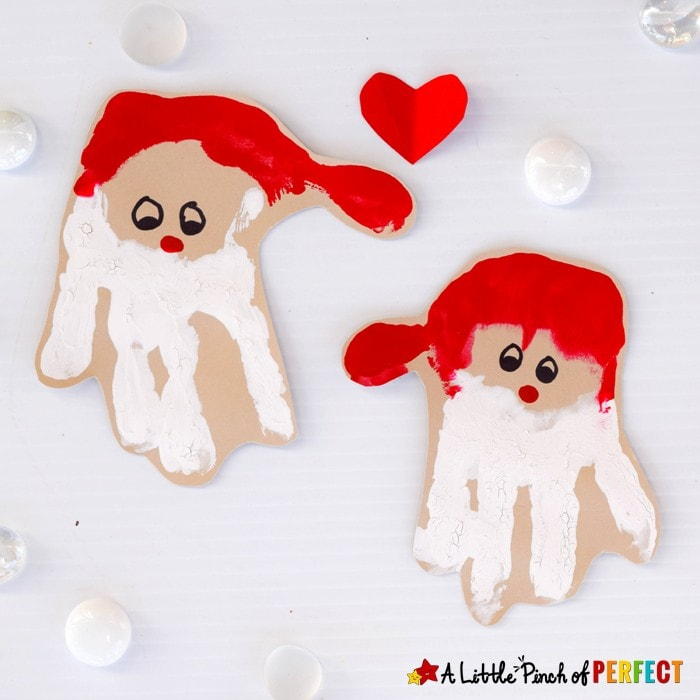 Handprint Santa Craft: An Adorable Christmas Decoration for Kids to make that can be hung on the walls, turned into a card, or made into an ornament.