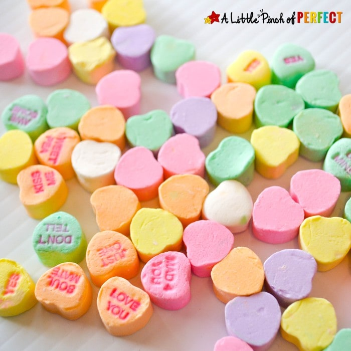 Candy Heart Sort and Graph Valentine's Day Math with Free Printable: Kids can use conversation hearts and hands on manipulates during this sweet math time activity. Two free printable graphs to choose from to make sure the colors on the graph match your box of candy. (February, Preschool, Kindergarten, First Grade)