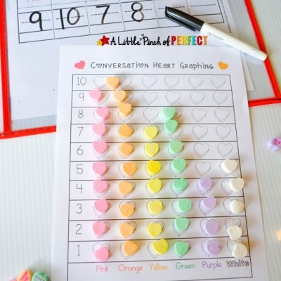 Candy Heart Sort and Graph Valentine's Math with Free Printable