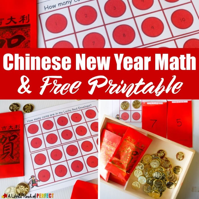 Chinese New Year Red Envelope Math Activity and Free Printable for Kids: includes 3 activities, free printable 10-frame counting mats and an addition page for your preschooler, kindergartner, and first grader (January, February)