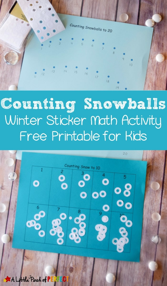 As kids count numbers 1-10 or 1-20 they can practice one-to-one correspondence, number recognition, and fine motor skills using stickers and this free printable activity that's perfect for a winter day of learning (there are 4 different pages to choose from).