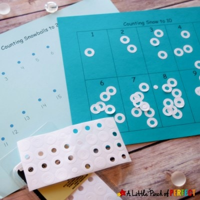 Counting Snowballs: Sticker Math Activity and Free Printable for Kids