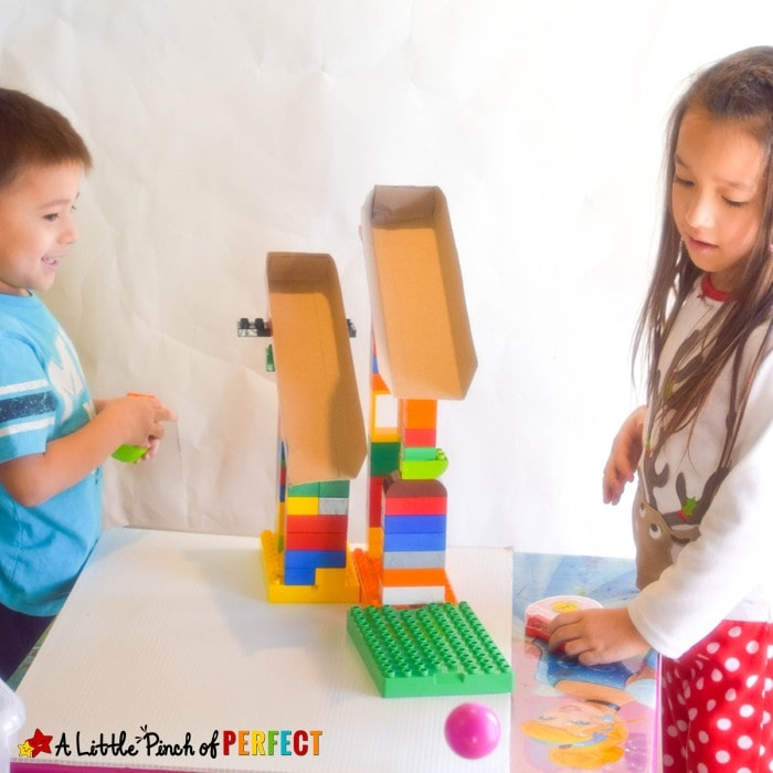 Cereal Box Ramps and Blocks: Hands on STEM Activity for Kids to Play and Learn as they see which toys, cars, and other items can make it down their ramp (Preschool, Kindergarten)