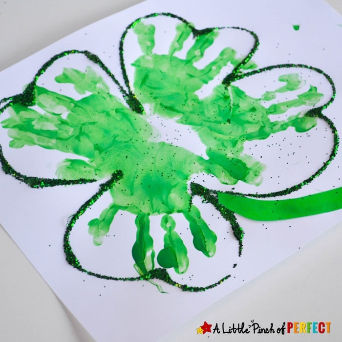 Handprint Four Leaf Clover: A cute and easy St. Patrick's Day craft to make with kids (St. Patrick's Day, Preschool, Kindergarten, Spring)