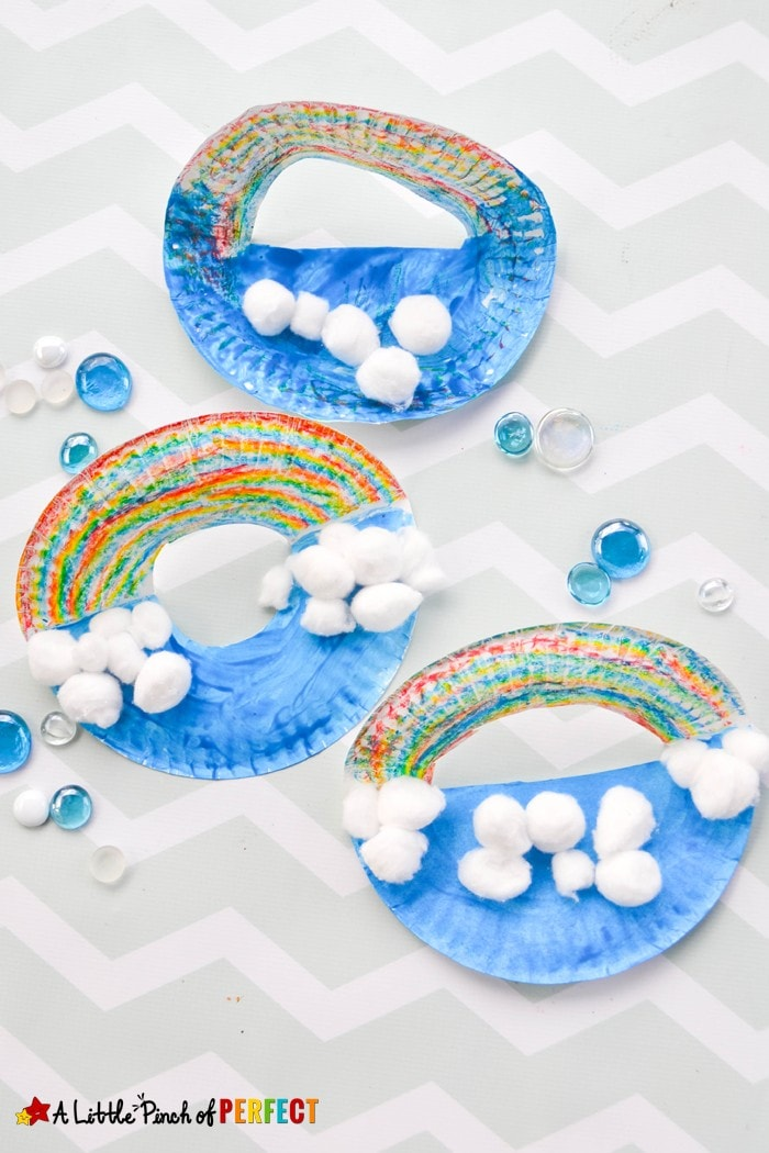 Pop Up Paper Plate Rainbow Craft for Kids: Easy to rainbow craft including a tip to show you how kids can make a rainbow without a big muddy mess of paint (St. Patrick's Day, Weather Unit, Preschool, Kindergarten, Spring)