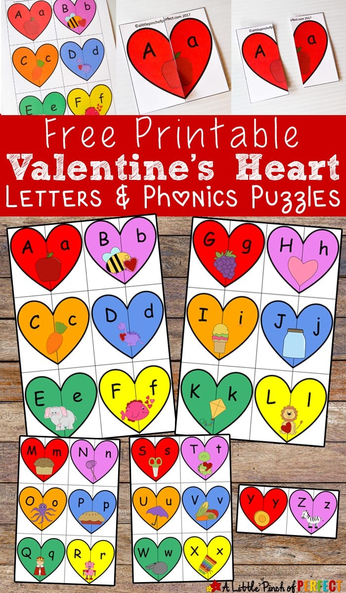 Valentine's Heart Letters and Phonics Puzzles Free Printable: Kids will learn uppercase and lowercase letters and associate pictures with each letter like an apple for the letter A and a bee for the letter B. (preschool, kindergarten, February, hands on learning)