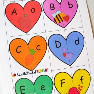 Valentine's Heart Letters and Phonics Puzzles Free Printable