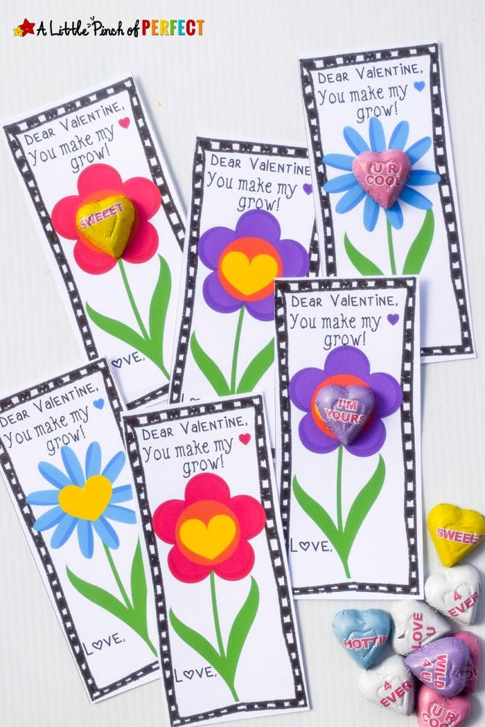 You Make My Heart Grow Free Valentine Printable for Kids: Simply print these adorable flowers cards out, add a candy, and they are ready to take to school, dance class, church, or wherever else your child needs to share Valentine's Day cheer