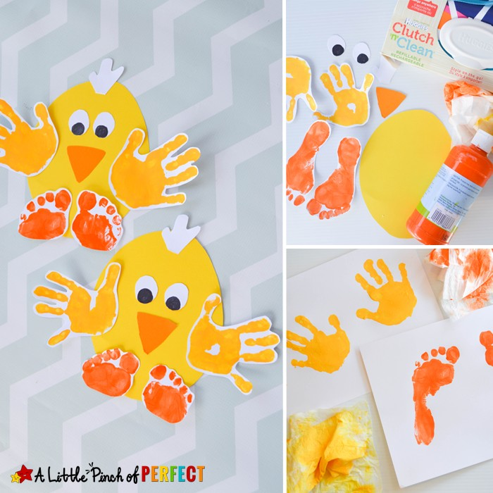 Handprint and Footprint Chick: Easy Spring and Easter Craft for Kids-perfect to make for spring, Easter, or while enjoying farm themed activities.