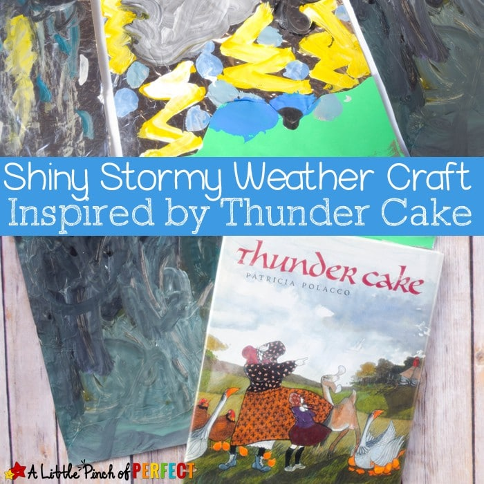 Easy stormy weather craft inspired by Thunder Cake is so cool because the clouds, rain drops, and flashes of lightening shine on the page. (painting, preschool, kindergarten, spring, summer, learning about weather, book extension)