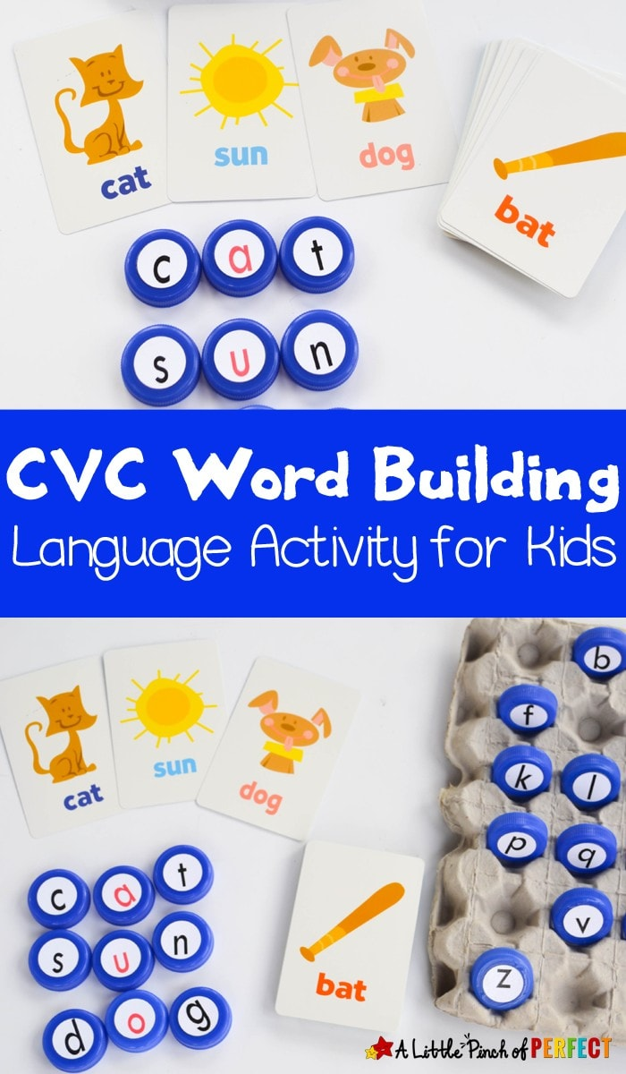 CVC Word Building Activity for Kids: Use this activity to turn boring flashcards into a fun hands on language activity. Your kindergartner or first grader can build CVC words to practice reading and spelling. As always, you can adapt this activity to match your child's skill level.
